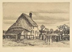 AR Badmin (Stanley Roy, 1906-1989). Oxfordshire Cottage, 1936,  etching on cream laid paper, an artist's proof, aside from the published edition of 40 published by the Fine Art Society, signed, titled and marked A/P, plate size 107 x 158mm (4.4 x 6.25ins), sheet size 202 x 258mm (8 x 10.2ins) Beetles 40. (1) Art Society, Beetles, Cottages, Printmaking, Countryside, Plate, Fine Art, Cream, Landscape