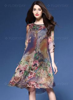 Платья - $52.24 - Элегантное платье из щифона длины асимметрично с цветочным принтом с рукавами 3/4 (1955125555)