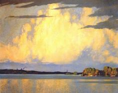 """Serenity: Lake of the Woods by Frank H Johnston of the """"Group of Seven"""" 1920s landscapes"""