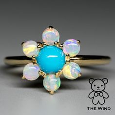 Cherry Blossom Turquoise Australian Solid Opal Engagement Ring 14K Yellow Gold #TheWindOpalLab #Cluster #Engagement