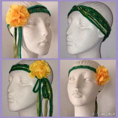 New boho/Coachella inspired crocheted headband added to the collection line. Hand crafted with 100% soft acrylic green yarn, light green felted fabric weaved into the headband and a yellow detachable flower clip. Multiple ways to wear! The possibilities are limited to your imagination. Hand wash in lukewarm water only, lay flat till dry and do not bleach or iron. $10