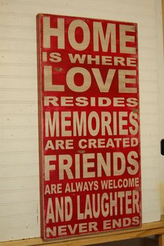 Home is where love resides - large handcrafted all wood sign - distressed vintage looking -. $120.00, via Etsy.