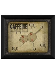 Caffeine Molecule - Gilt Home    This print was designed by Artwork Enclosed. Tea stain canvass, then I think I'm going to do 4 of these for the opposing wall in my dining room, Caffeine, sugar, salt, water...is there a compound for umami?