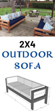 2x4 Outdoor Sofa   Ana White Diy Sofa, Couch Sofa, Sofa Pillows, Ana White, Diy Wood Projects, Outdoor Projects, Garden Projects, Beginner Wood Projects, Diy Backyard Projects