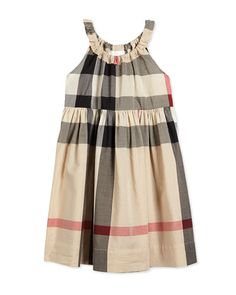Burberry Sleeveless Shift Sundress, New Classic Check, Size 4Y-14Y
