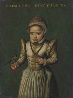 Portrait of a child, small three-quarter-length, in a white embroidered dress lined with lace and a cap, holding a bird