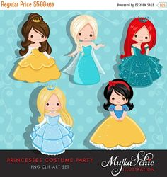 ❘❘❙❙❚❚ ON SALE 50% OFF ❚❚❙❙❘❘     Every little girls dream being a princess. This beautiful princess costume party clipart set is perfect for a dress up party. 5 lovely characters are dressed up as princesses. These princess costumes are beautiful. Perfect for invitations, party printables and embroidery.  See matching Princess Costumes Clipart here. http://etsy.me/1Ng2Vwd  Contains 5 high quality Cliparts Format: 300 DPI transparent PNG files Size: Most cliparts are saved arou...