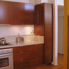 Cherry Cabinetry Kitchen - midcentury -
