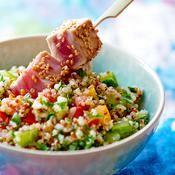 Quinoa aux herbes et thon mi-cuit  - une recette Équilibre