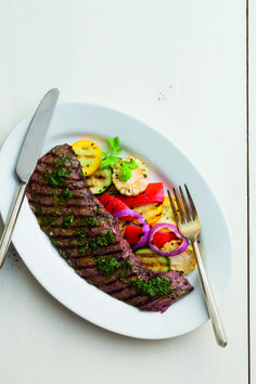 Minute Steak with Summer Veggies |bill of fare| Easy Does It! August 2015 Recipes by Bill Scepansky Photography by Brian Donnelly  Recipe found at: http://www.lancastercountymag.com/recipe/minute-steak/  #steak #summerveggies #cornonthecob #Delmonicosteak #Argentinianchimichurri