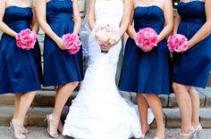 navy & pink maids