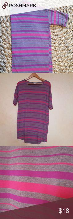 Lularoe Irma Cute XS Lularoe Irma. Gray, pink & purple stripes. Gently worn 1x washed according to LLR❣ LuLaRoe Tops