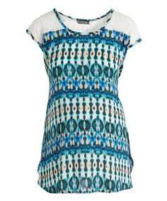 Love this Due Time Blue & Green Geometric Lace Tie Maternity Scoop Neck Top on #zulily! #zulilyfinds