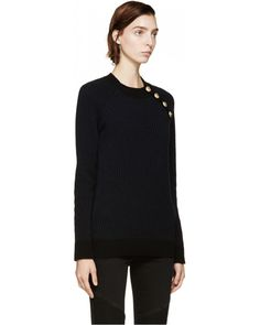 Balmain Black & Navy Merino Wool Sweater 52251F000012