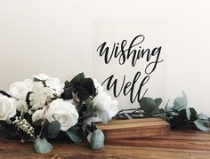 Acrylic Perspex Wishing Well sign for wedding, engagement party & events. Modern luxe wedding. White wedding. Willow and Ink Design. Willow & Ink. Etsy