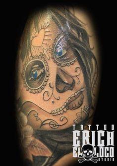 Tattoo La Catarina La Muerta Tattoo Artists, Skull, Tattoos, Tatuajes, Tattoo, Tattos, Skulls, Sugar Skull, Tattoo Designs
