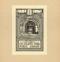 bookplate by Ralph Fletcher Seymour for Highland Park Library, 8 August 2013