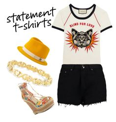 """""""statement!"""" by jez-alex ❤ liked on Polyvore featuring Gucci, Jessica Simpson, Maison Michel, Boohoo and Signature Gold"""