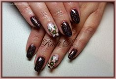 It`s all about nails: Brown glitter gel polish and flowers http://radi-d.blogspot.com/2015/01/brown-glitter-gel-polish-and-flowers.html