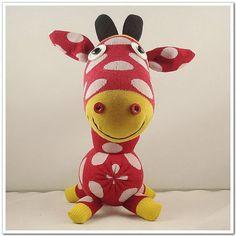 Handmade Sock Giraffe Stuffed Animal Doll Baby von supersockmonkeys