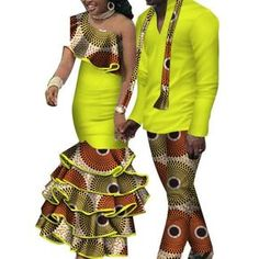 African Matching Clothing For Couple Man Woman Cotton Print Send Your – Afrinspiration Couples African Outfits, Couple Outfits, African Attire, African Wear, African American Fashion, African Print Fashion, Africa Fashion, African Print Dresses, African Fashion Dresses