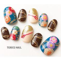More Japanese inspired nails Korea Nail Art, Japan Nail, New Years Nail Art, Kawaii Nails, Diva Nails, Japanese Nail Art, Nail Polish Art, Manicure Y Pedicure, Garra