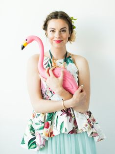 Flamingo Pop. A bridal collaboration with BHLDN and The House That Lars Built. Top from Anthro. Dress from BHLDN. Jewelry from Anthro. Flowe...
