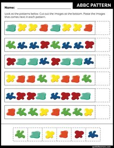These FREE printable worksheets for kids are great for practicing spatial concepts! These patterns worksheets can be used as homework, bell-ringer activity, warm-up activity, or speech therapy work. Fun activity for your kindergarten or grade 1 students! Free Printable Worksheets, Worksheets For Kids, Printables, Kindergarten Activities, Activities For Kids, Pattern Worksheet, Color Switch, Kids Education, Early Childhood