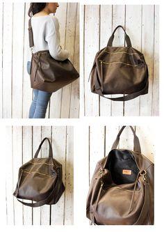 "Handmade Italian Vintage Leather Luggage ""luggage brown"" di LaSellerieLimited su Etsy"