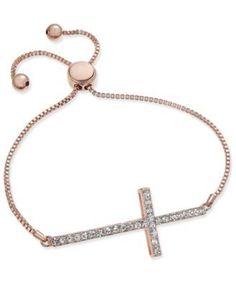 Joan Boyce Crystal Cross Slider Bracelet - Silver
