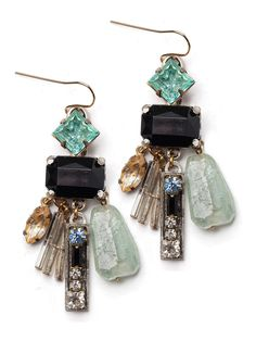 Found Charms Drop Earrings  The boldness of jet against blues and greens turn these simple charms into art deco tokens of the 20s, 30s and 40s. quartz assorted opaque glass cabochons blue and jet crystal rhinestones metallic bugle seed beads antique gold colored, plated alloy castings