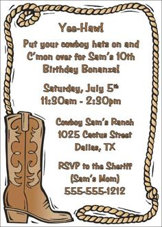 vintage pinup cowgirl th birthday party invitations western, invitation samples