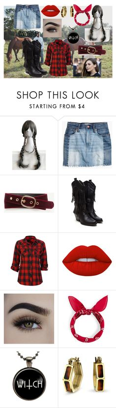 """#avengers. wanda. cowgirl.1"" by ronnie-555 ❤ liked on Polyvore featuring WithChic, Olsen, Madewell, Ann Taylor, Full Tilt, Lime Crime and Bling Jewelry"