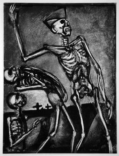 Georges Rouault: Miserere IV - Plate 54: Debouts les morts / Up and at them, dead guys (C&R. 107b). Original aquatint, drypoint, burnisher, roulette, 1927.