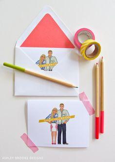 Custom Illustration: Engagement --> Wedding --> Married Life Stationary // custom couple illustration