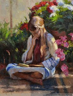Veselka, Albin Girl Reading in Garden Reading Art, Woman Reading, Image Avatar, Beautiful Paintings, Oeuvre D'art, Female Art, Book Art, Art Drawings, Art Photography