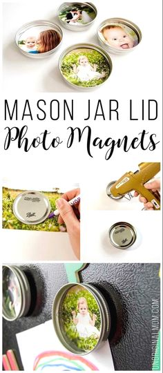 Super simple tutorial to make DIY upcycled mason jar lid magnets. They make great budget friendly gifts! #masonjars