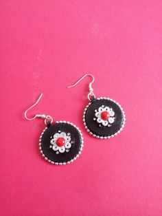 Items similar to Unique red with black base and silver touch Paper Quilled earrings from Quillkriti on Etsy Paper Quilling Earrings, Quilling Jewelry, Paper Jewelry, Quilling Designs, Beading Patterns, Crochet Earrings, Paper Crafts, Hair Accessories, Collections