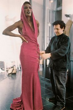 Grace Jones with Azzedine Alaia, 1977.
