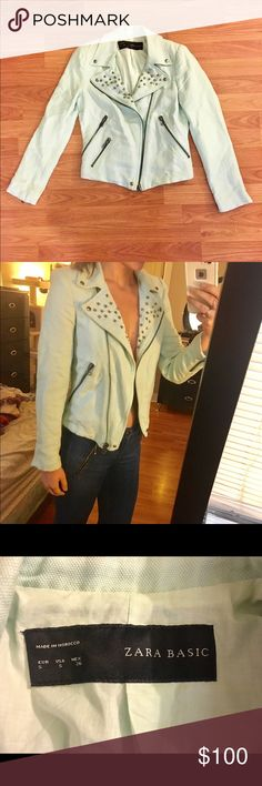 Light blue ZARA studded blazer/ jacket. Size S Super cute jacket for fall. Great condition. Gotten a lot of compliments in this! Zara Jackets & Coats Blazers