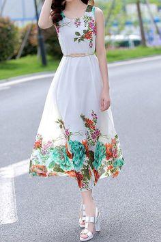 0e3b8c27b872 Fashionable Sleeveless Scoop Collar Floral Print Chiffon Dress For Women