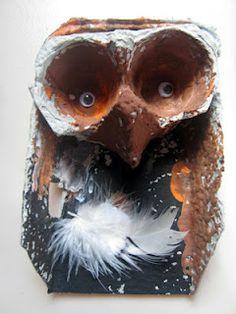 Making owls out of egg cartons  www.artandsoulpreschool.blogspot.com