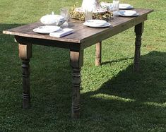 Farmhouse Table Rustic Farm Table Farmhouse Dining Table | Etsy Outdoor Dining Furniture, Wood Furniture, Dining Table, Modern Furniture, Kitchen Tables, Wood Table, Barn Table, Furniture Ideas, Furniture Design