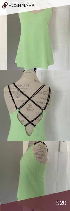 Naked Zebra Top Naked Zebra lime green with black straps high low tank top NWOT  ❌trades❌PayPal Naked Zebra Tops Tank Tops