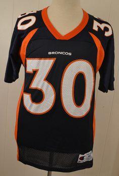 f7d382e81 Vintage Champion Denver Broncos  30 Terrell Davis Jersey Adult Size 40 Blue   Champion  DenverBroncos