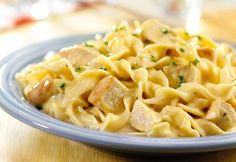Our quick creamy chicken and noodle recipe combines cream of chicken and mushroom soups with chicken and egg noodles to make a delicious dinner in just 25 minutes.