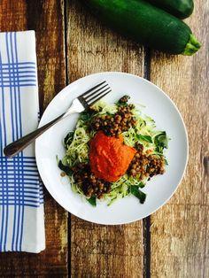 zucchini noodle marinara with lentils