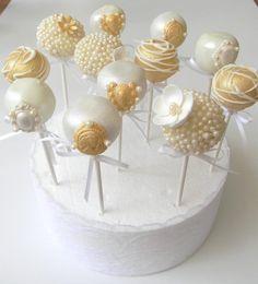 Best ideas for cake pops wedding vintage beautiful Pearl Bridal Shower, Bridal Shower Cakes, Pearl Anniversary, Golden Wedding Anniversary, Wedding Cake Pops, Wedding Cakes, Wedding Veils, Wedding Hair, Bridal Hair