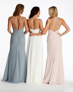 A different detailed back for each bridesmaid allows them to showcase their personality and feel comfortable! Gowns: Hayley Paige Image: Bella Bridesmaids