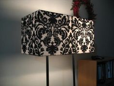 Black & White Damask Double Light Rectangle